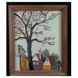 "Vintage Crewel artwork 18x23"""