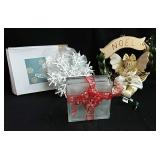 Light up glass block, Christmas wreath & hanging