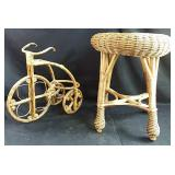 "Wicker stool  15"" round x 18"" h  & bicycle"