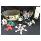 Assorted Christmas candle holders and decor with