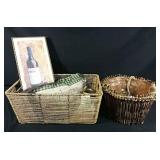 2 baskets with assortment of home decor, bottom