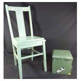 Solid wood chair with small padded foot stool