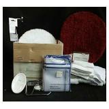 Various bathroom items including towel rack, New