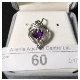 30L- sterling silver amethyst pendant