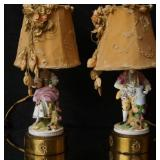 Pair French porcelain figural boudoir lamps