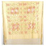 Antique silk pale green shawl w pink green floral