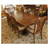 Pedestal dining table and 8 chairs