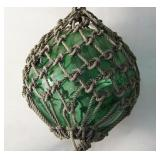 Antique Nautical Green Glass & rope Fish Ball