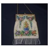 Antique rose floral beaded purse