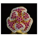 18kt Gold 1.83 ct Ruby & Diamond pedal ring