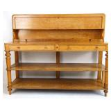 Unusual antique oak sideboard with folding top
