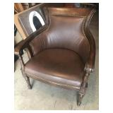Leather Accent Chair with Nailhead Trim