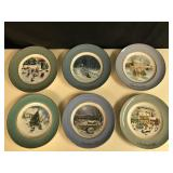 Lot of 6 Avon China Christmas Plates 1975-1980