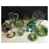 Lot of green and yellow glass