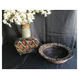 Set of 2 Home Accents - Metal vase and bowl