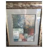 Framed Abstract Print with Leaf