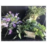 Lot of 3 Artificial plants in metal planters