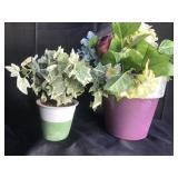Lot of 2 Artificial plants in porcelain planters