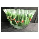 Hand Made Christmas Holly Art Glass Bowl