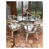 Round Glass & Rattan Table