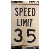 Speed limit 35 sign on post