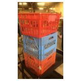 Milk crates and plastic basket