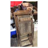 Lot of wooden fold up chairs