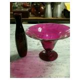 Red bowl and vase