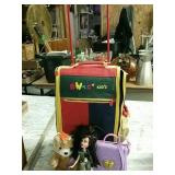 Toys and rolling case.