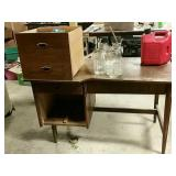 Mid century desk project and misc on top.