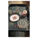 A&w.  Coke vase glasses egg plate eagle plate