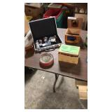 Poker chips wood cigar box wool winder