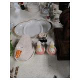 Assorted glassware salt and pepper shakers