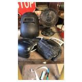 Welding helmet fan boxing mitts