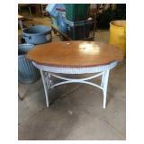 Oak Turtle top  wicker table