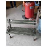 Small wooden park bench