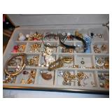 MIRRORED JEWELRY CASE WITH COSTUME JEWELRY