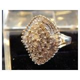 DIAMOND COCKTAIL RING-MARKED 14K WEGOR
