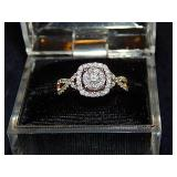 HALO DIAMOND RING-MARKED 14K UD 8, INDIA