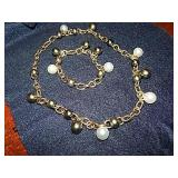 MIKIMOTO PEARL NECKLACE & BRACELET-GRAY & WHITE