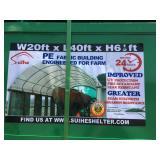 UNUSED 20X40X6.5 FABRIC STORAGE BUILDING