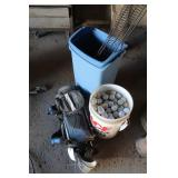 Bucket of golf balls, 13-Gal. trash Cans, Little