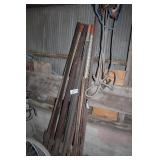 steel fence posts(13) and rerod post (4)