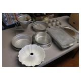 Assorted cake pans, etc