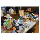 large lot of cleaning supplies, toiletry items