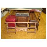 Rocking chair, wood shelf, Dehumidifier, Ottoman