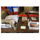 Irons, sewing boxes and supplies