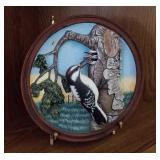 Hand Painted Bird Plate w/ Brass Stand