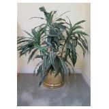 Fake Plant w/ Brass Planter