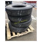Pallet w/ 11R 22.5 Tires (4)